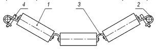 Подвесная желобчатая (гирляндная) роликоопора
